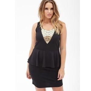Forever 21 Plus + Black Peplum Dress Gold Detail